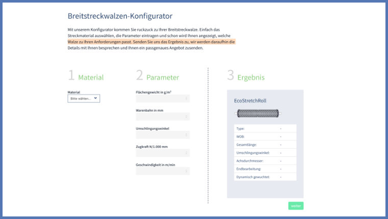 Screenshot Breitsteckwalzen Konfigurator